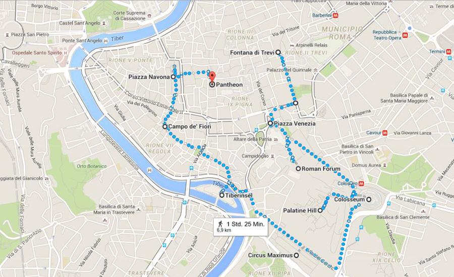Rom Sehenswürdigkeiten Karte Deutsch.Rom Zu Fuß Erkunden 2 Routenvorschläge