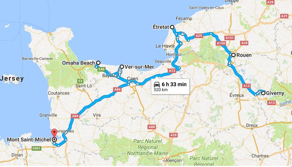 frankreich road trip normandie