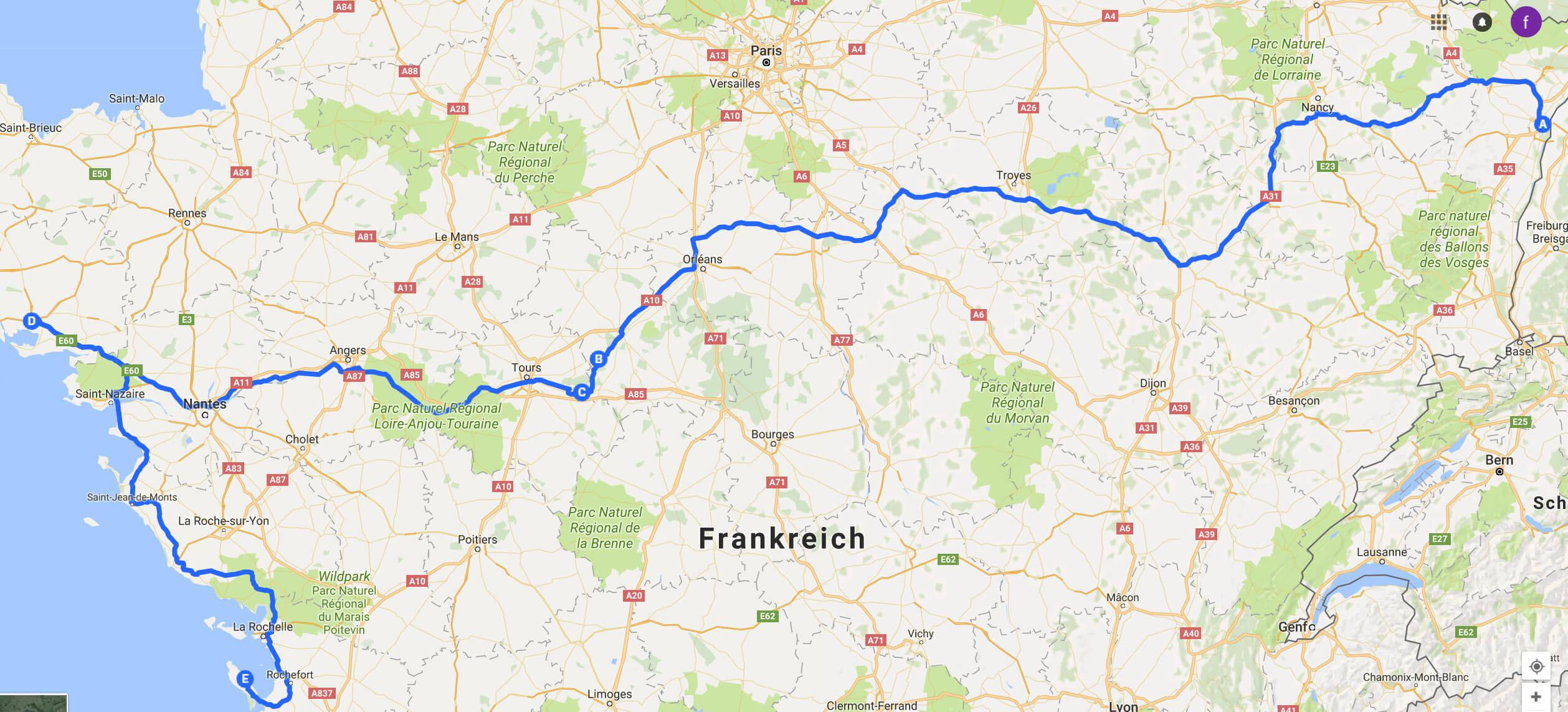frankreich road trip
